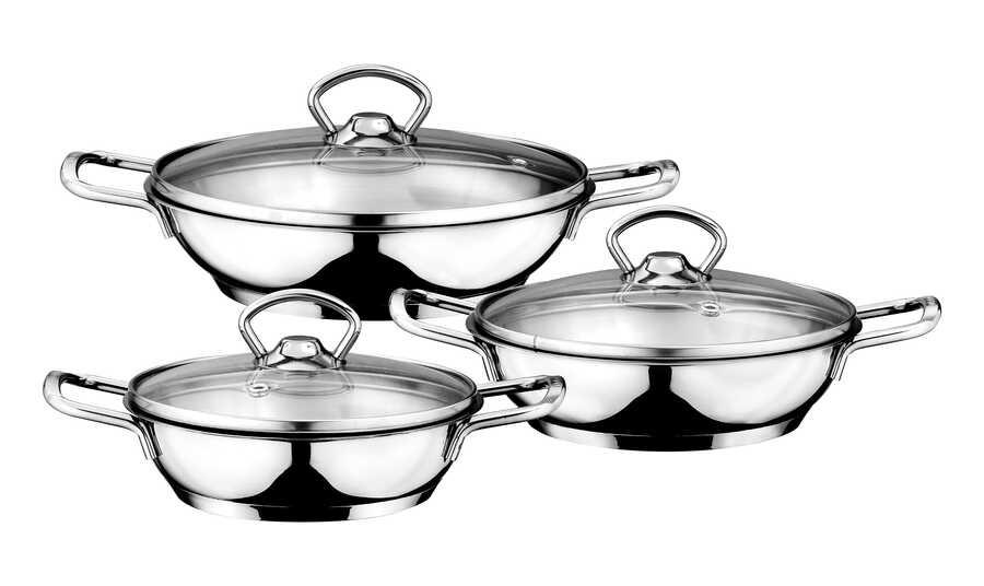 6 Parça Basık Cam Kapak Çelik Omlet Seti