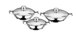 AKDENİZ - 6 Parça Metal Kulplu Metal Kapaklı Çelik Omlet Seti