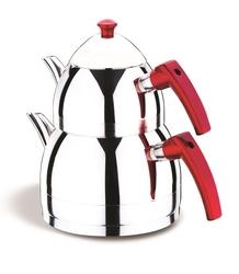 AKDENİZ - Zümrüt Kırmızı Bakalit Kulp Çaydanlık