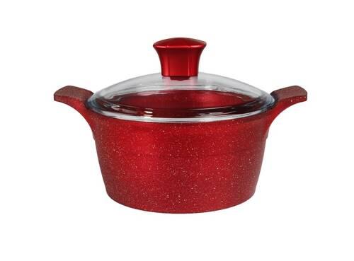 AKDENİZ - Onyx 20 cm Derin Kendinden Kulplu Cam Kapaklı Kırmızı Döküm Tencere