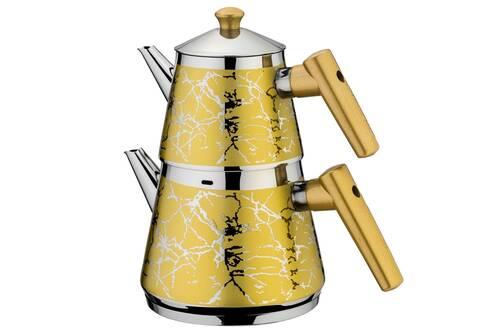 AKDENİZ - Piramit Sarı Desenli Çaydanlık